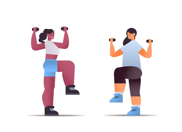 Mix race women in sportswear doing physical exercises with dumbbells healthy lifestyle concept