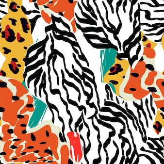 Mix snake spot vector seamless pattern. camouflage zebra texture. colorful art hair tiger design. abstract leopard ethnic print.