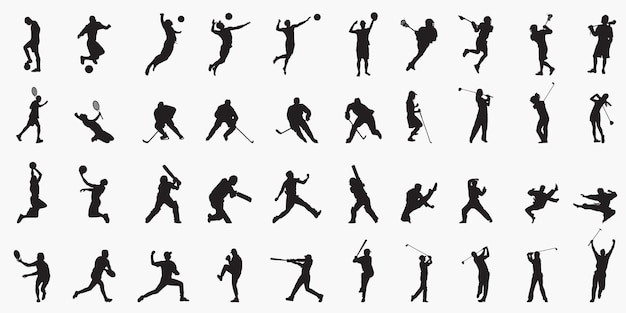 Mix sports player silhouettes