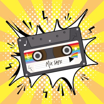 Mix tape retro cassette on explosion bubble design, music vintage and audio theme vector illustration