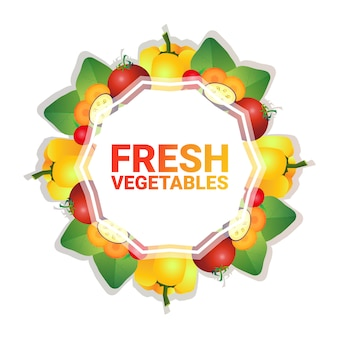 Mix vegetable colorful circle copy space with pepper and tomato organic over white pattern background healthy lifestyle or diet concept