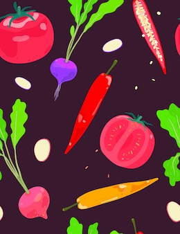 Mix vegetables radish chilli and tomato seamless pattern