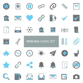 Черный и синий mix набор иконок