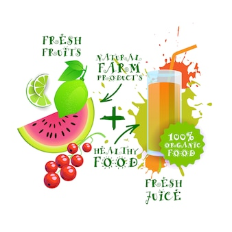 Свежий сок коктейль mix логотип натуральные продукты питания здоровые сельскохозяйственные продукты концепция