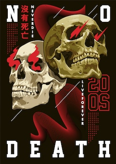 Mixed art of skulls with abstract shapes