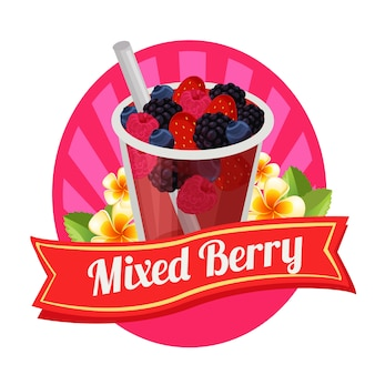 Mixed berry label fresh drink