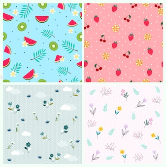 Mixed cute fruit flower and leaves pattern for background