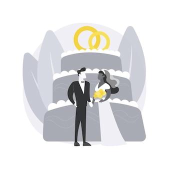 Illustrazione di concetto astratto di matrimonio misto.