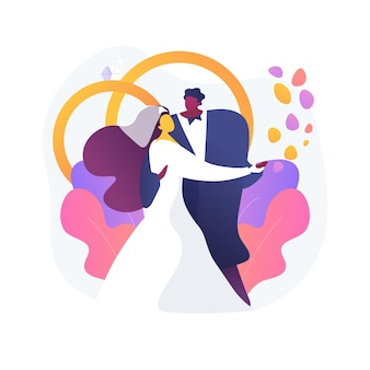 Mixed marriage abstract concept vector illustration. interracial marriage, different races and religions, happy multiracial family, mixed couple, wedding day rings, traditional abstract metaphor.