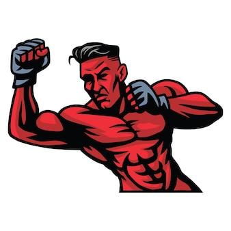 Mixed martial arts fighter logo character design vector illustration