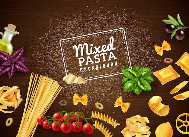 Mixed pasta background