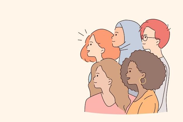 混血グループの注意の概念。明るい背景、コピーペース、ベクトル図の上に立って目をそらしている多民族の女の子と男の子のグループ