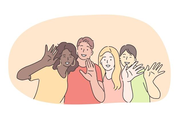 混血、友人の多民族グループ、国際的な友情の概念。一緒にカメラに立って手を振っているさまざまな国籍の笑顔の友人の漫画のキャラクターのグループ