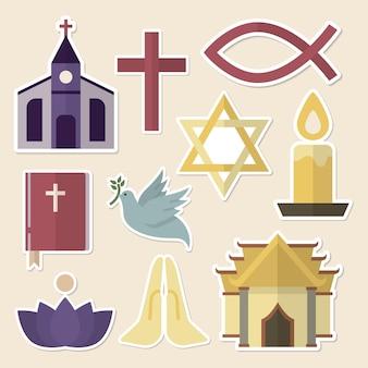 Mixed religious symbols sticker set