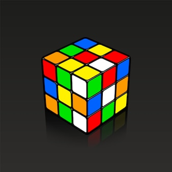 Mixed rubic cube 3d illustration with little reflection on black background.