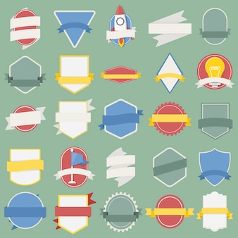 Mixed Set of Light Bulb Spaceship Flag Badges Emblem Label Icon Illustration