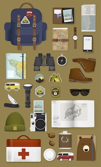Mixed set of travel packing stuff illustration vector