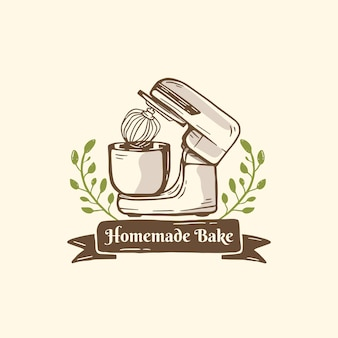 Mixer logo bakery baking with leaves ornament in hand drawn illustration style