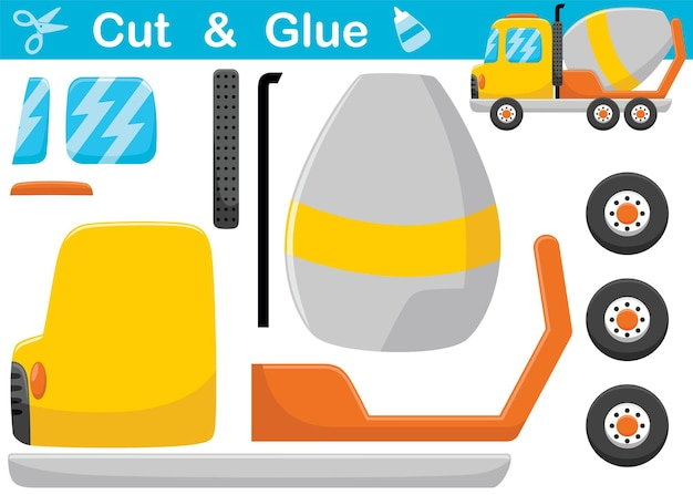 Mixer truck cartoon. education paper game for children. cutout and gluing
