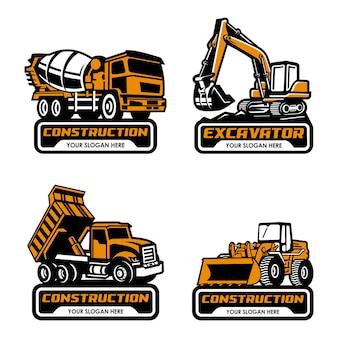 믹서 트럭 굴삭기 덤프 트럭 및 불도저 로고