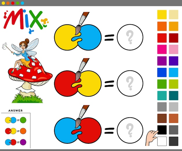 Mixing colors educational task for children