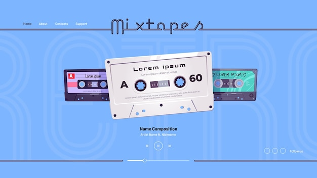 Pagina di destinazione dei cartoni animati di mixtape