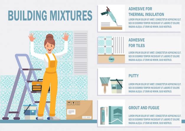 Mixtures for tiles installation flat vector banner