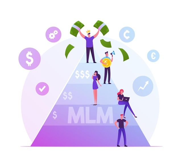 Mlm. multi level marketing business concept with people stand on different levels of finance pyramid, happy man on top holding money bills. cartoon flat illustration