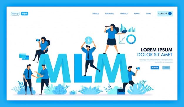 Mlmアフィリエイトプログラムのフラットなイラストは、多くのダウンラインを獲得し、利益を得ています。