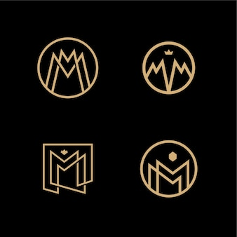 Mm lettermark monogram circle round logo vector