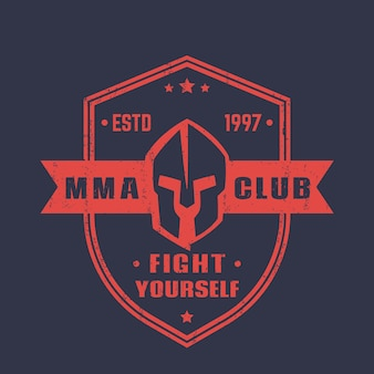 Эмблема в форме щита клуба мма, значок, логотип со спартанским шлемом