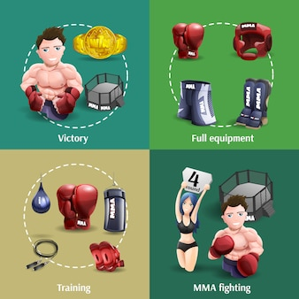 Mma fight 4 3d icons square