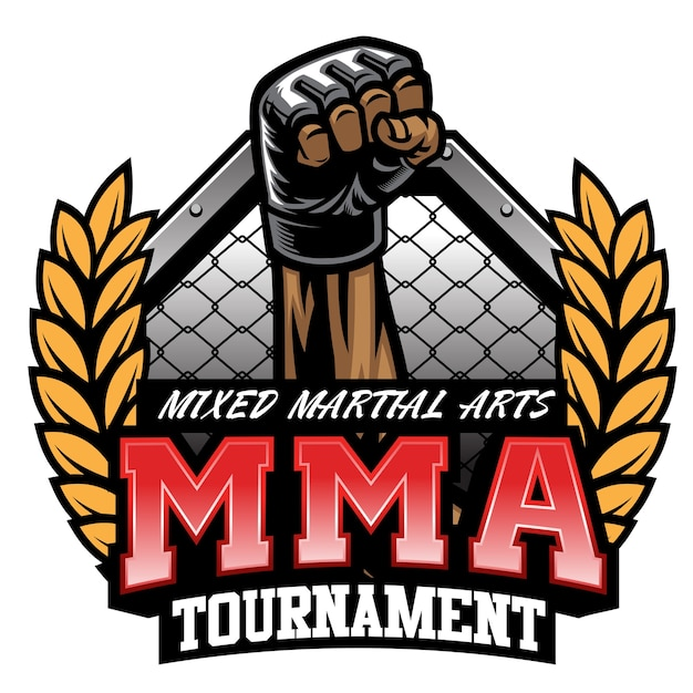 Mma fight tournament design isolated on white