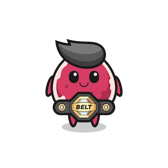 The mma fighter beef mascot with a belt , cute style design for t shirt, sticker, logo element