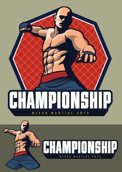 Mma fighter design for badge and logo