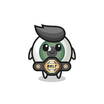 The mma fighter eyeball mascot with a belt , cute style design for t shirt, sticker, logo element