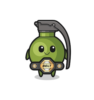 The mma fighter grenade mascot with a belt , cute style design for t shirt, sticker, logo element