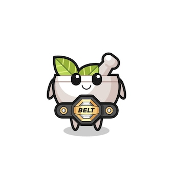 The mma fighter herbal bowl mascot with a belt , cute style design for t shirt, sticker, logo element
