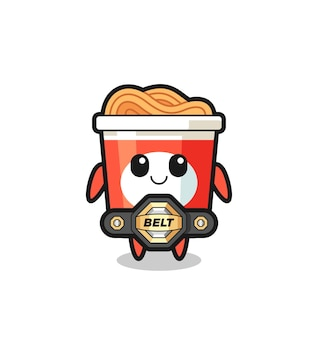 The mma fighter instant noodle mascot with a belt , cute style design for t shirt, sticker, logo element