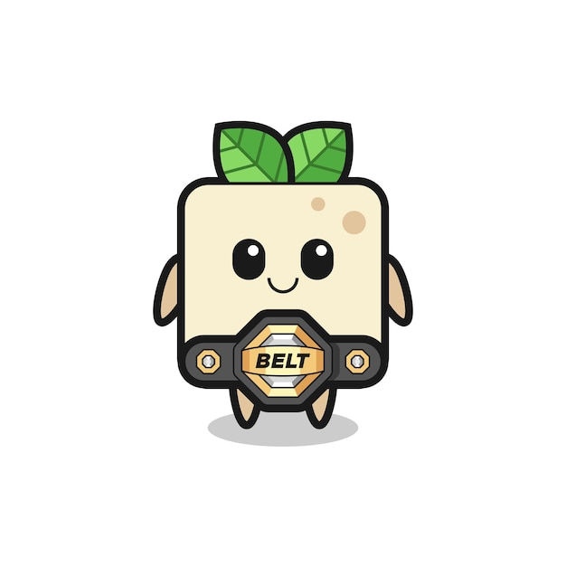 The mma fighter tofu mascot with a belt , cute style design for t shirt, sticker, logo element