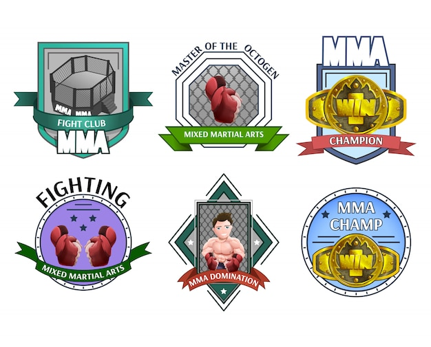 Mma fighting emblems labels set