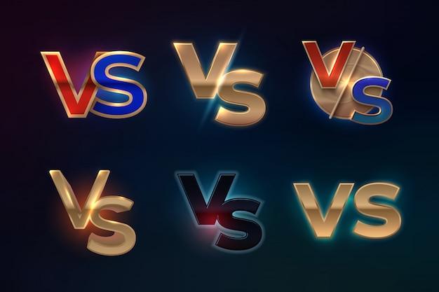 対ロゴセット。スポーツの競争、mmaボクシングの戦いの試合画面、ゲームのコンセプトのvs文字。対バナー