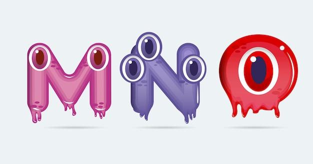 Mno забавные мультяшные буквы монстра. векторная иллюстрация. фон монстров