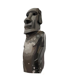 Moai statue, easter island statue from a splash of watercolor, colored drawing, realistic.