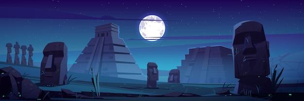 夜のモアイ像とピラミッド、チリ共和国は満月の下で有名なランドマークの石の頭を旅します