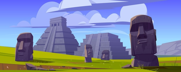 Le statue e le piramidi di moai, repubblica del cile viaggiano teste di pietra famose dei punti di riferimento sul campo verde