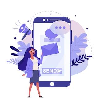 モバイル広告とデジタルマーケティングのフラットデザイン。マーケティング研究のカラーイラスト。携帯電話、メール、拡声器の図の概念、白い背景で隔離の女性。