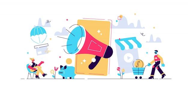 웹 페이지, 배너, 프리젠 테이션, 소셜 미디어, 문서, 카드, 포스터에 대한 모바일 광고 개념. 그림 비즈니스 디지털 마케팅, 소셜 네트워크, 확성기, 휴대 전화