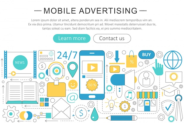 Mobile advertising marketing flat line concept