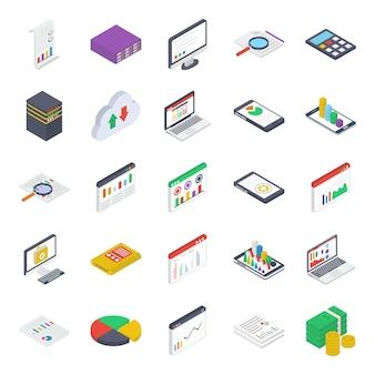 Mobile analytics isometric icons pack